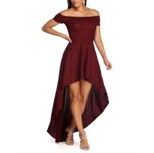 High Low Red Glitter Dress